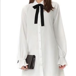 Tularosa white button down dress and black bow